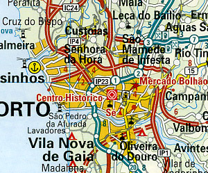 Portugal Road and Topographic Tourist Map.