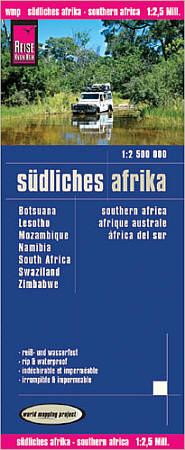 Southern Africa Road and Topographic Tourist Map.