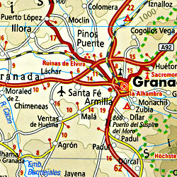 Spain and Portugal, Road and Topographic Tourist Map.