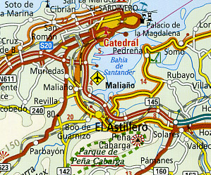 Northern Spain, Road and Topographic Tourist Map.