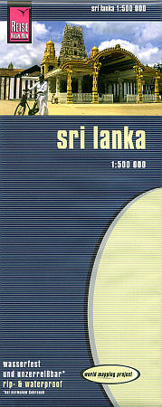 Sri Lanka, Road and Topographic Tourist Map.
