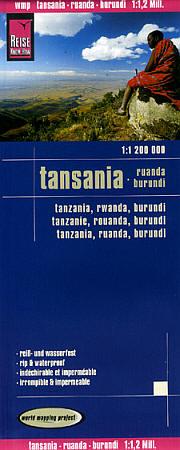 Tanzania, Rwanda, and Burundi, Road and Topographic Tourist Map.
