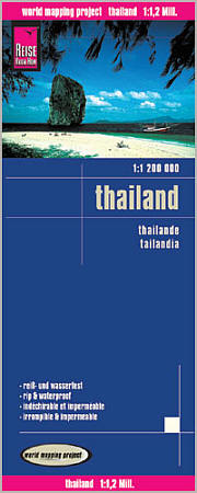Thailand, Road and Topographic Tourist Map.