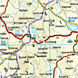 Turkey, Western and Mediterranean Coast, Road and Topographic Tourist Map.