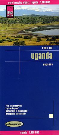 Uganda Road and Topographic Tourist Map.