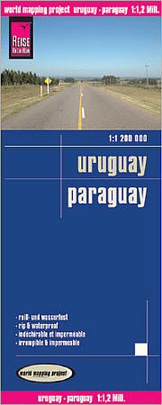 Paraguay and Uruguay Road and Topographic Tourist Map.