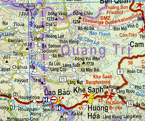 Vietnam, Laos and Cambodia Road and Topographic Tourist Map.