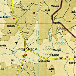 Zambia Road and Topographic Tourist Map.