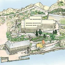 Alcatraz map and guide, California, America.