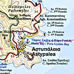 Astypalea Island, Road and Physical Tourist Map, Greece.