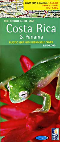 Panama and Costa Rica Road and Physical Tourist Map.