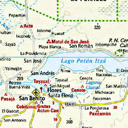 Guatemala & Belize Road and Shaded Relief Tourist Map.