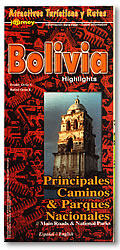 Bolivia Highlights, Road and Tourist Map.