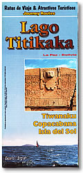 Lake Titicaca (Lago Titikaka), Road and Tourist Map, Bolivia.