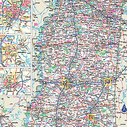 Mississippi WALL Map, America.