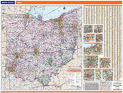 Ohio WALL Map, Ohio, America.