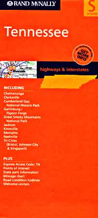 Tennessee Road and Tourist Map, America.