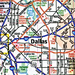 Texas Road Tourist Map, America.