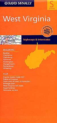 West Virginia Road Map, America.