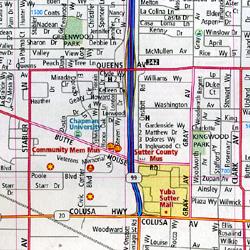 Marysville, Yuba City, Grass Valley and Nevada City, California, America.