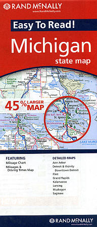 """Michigan """"Easy to Read"""" Road and Tourist Map, America."""