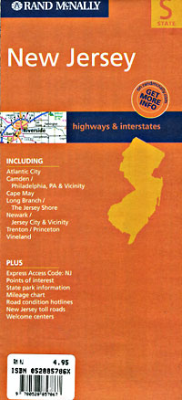 New Jersey Road and Tourist Map, America.