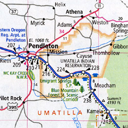 Oregon Road and Tourist Map, America.