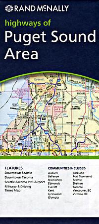 Puget Sound Area Road and Tourist Map, Washington, America.