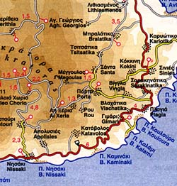 Corfu Island, Road and Physical Tourist Map, Greece.