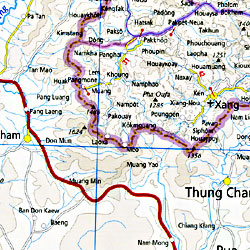 Vietnam, Laos, and Cambodia, Road and Physical Tourist Road Map.