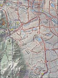 Colorado Springs and Pikes Peak Hiking Map.