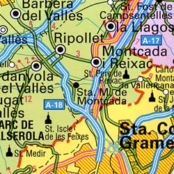 Barcelona Province, Road and Tourist Road Map, Spain.