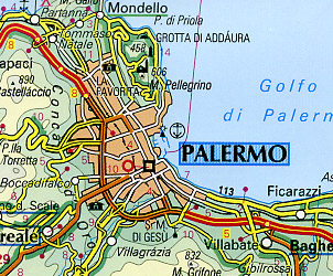 Italy, Southern Road and Shaded Relief Tourist Map.