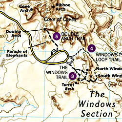 Arches National Park, Road and Recreation Map, Utah, America.