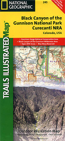 Black Canyon of the Gunnison National Park, Road and Recreation Map, Colorado, America.