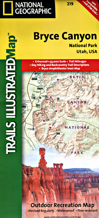 Bryce Canyon National Park, Road and Recreation Map, Utah, America.