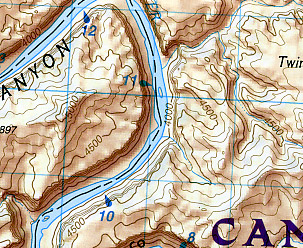 Canyonlands National Park, Needles District, Road and Topographic Map, Utah, America.
