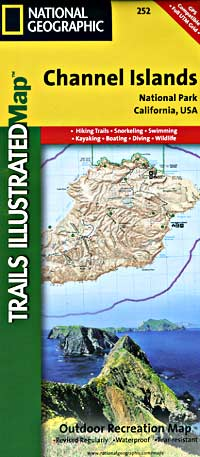 Channel Islands National Park, Road and Recreation Map, California and Nevada, America.
