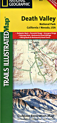 Death Valley National Park, Road and Topographic Recreation Map, California, America.