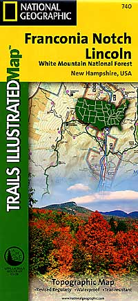 Franconia Notch and North Conway, Road and Recreation Map, America.