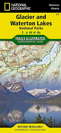 Glacier and Waterton Lakes National Park, Road and Recreation Map, Montana, America.