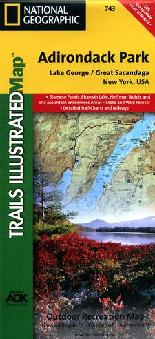 Adirondack Park (Lake George and Great Sacandaga Lake Section), Road and Recreation Map, New York, America.