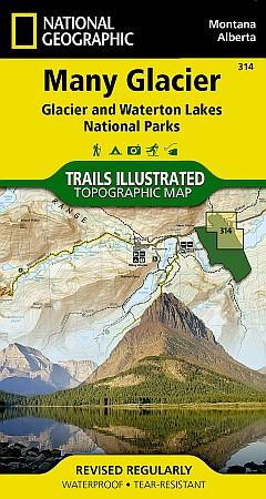 Many Glacier, Glacier National Park Road and Recreation Map, Montana, America.