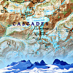 North Cascades National Park, Road and Recreation Map, Washington, America.