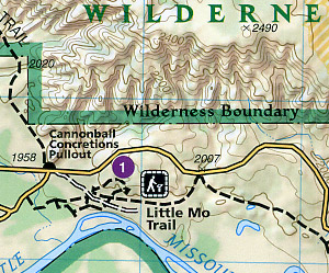 Theodore Roosevelt National Park, Road and Recreation Map, North Dakota, America.