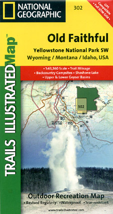Yellowstone National Park South West (Old Faithful), Road and Recreation Map, Wyoming, America.