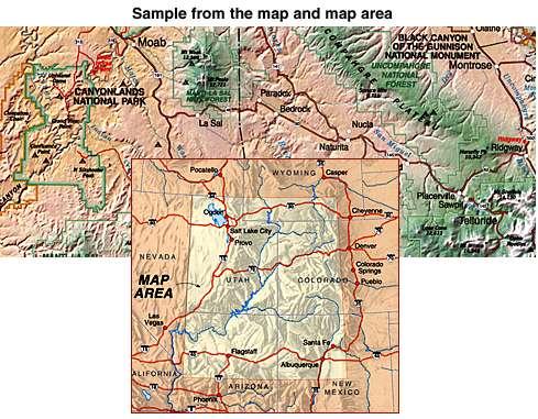 Colorado Plateau, Road and Shaded Relief Recreation Map, Colorado, America.