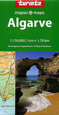 Algarve Region, Road and Shaded Relief Tourist Map, Portugal.