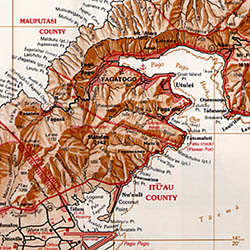 Samoan Islands Road and Reference Map.