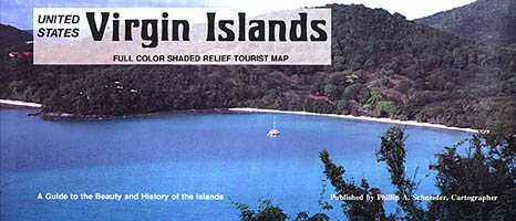 Virgin Islands (U.S & British) Road and Shaded Relief Tourist Map.